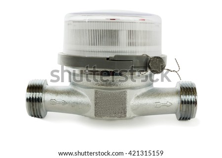Water meter for domestic water on a white background - stock photo