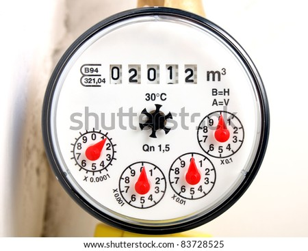 Water meter installed in 2012 showing - stock photo