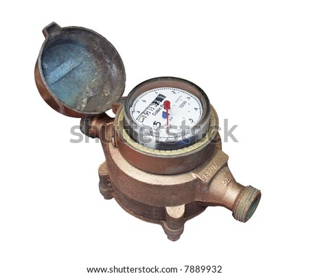 Water meter - Isolated - Names removed. - stock photo