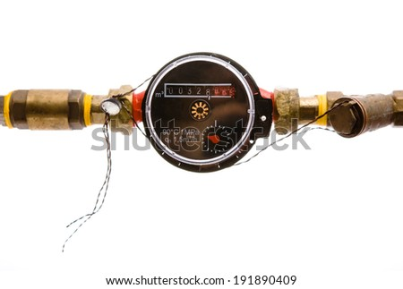 water meter on white background - stock photo