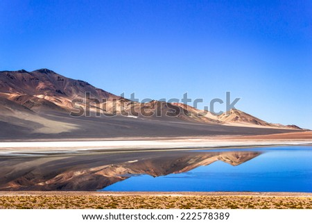 Water mirror in the Atacama desert, Chile. The Atacama Desert is a plateau in South America, covering a 1,000-kilometre (600 mi) strip of land on the Pacific coast, west of the Andes mountains. - stock photo