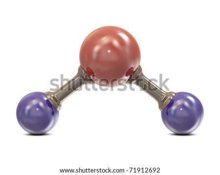 Water molecule structure with red and blue balls isolated on white