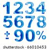 Water numbers set, 3d - stock vector