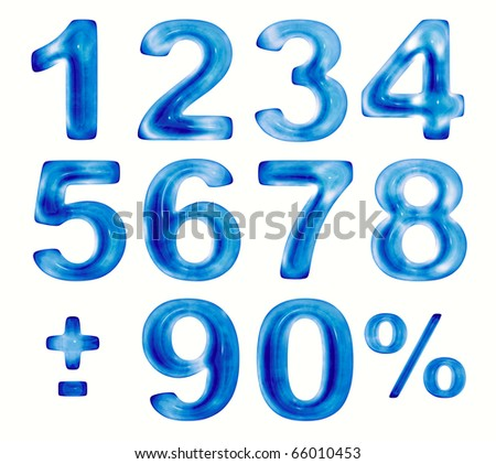 Water numbers set, 3d - stock photo