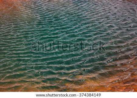 Water of geothermal spring, geyser in Iceland - stock photo