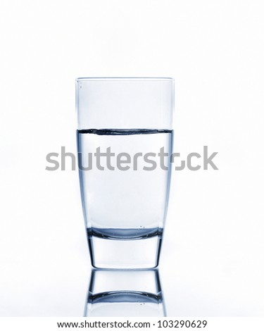 water on glass isolated on white background - stock photo