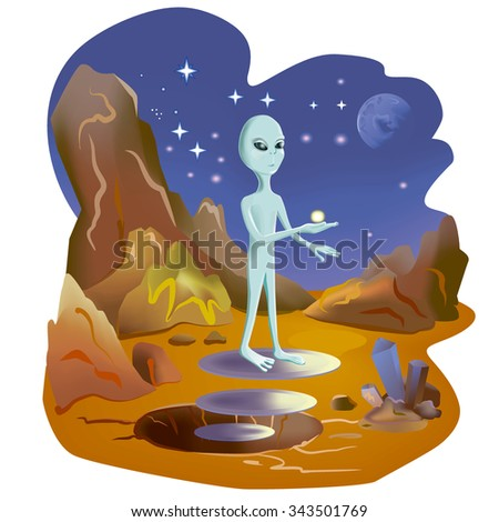 Water on Mars. Martian shows water in its hand. New world is discovered. Hand drawn watercolor illustration. Water on the Mars surface. Great science discovery. Comic cartoon style. New life. NASA - stock photo