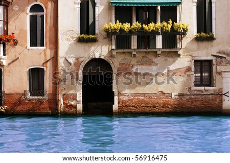 Water on threshold of house - stock photo