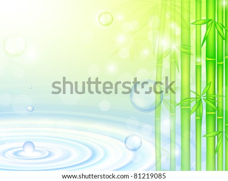water over green bamboo forest with bubbles - stock photo