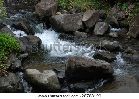 water over rocks in river