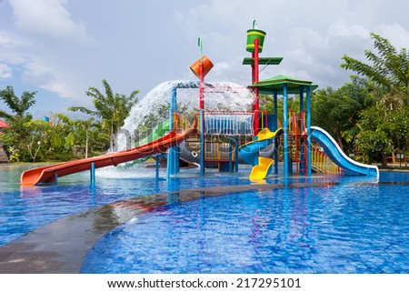 water park for kid at the day time - stock photo