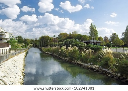 """Water passage at the """"Parc Borely"""" in Marseille in France - stock photo"""