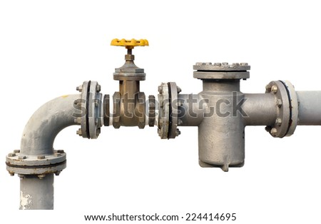 water pipe valve isolated from wite backgroud - stock photo