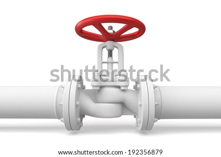 Water pipeline with valve. Isolated on white background - stock photo