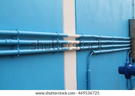 Water pipes of the building wall