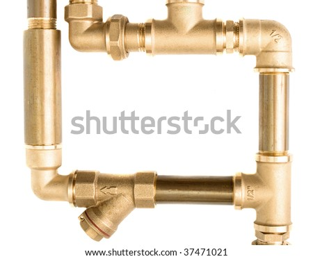 Water pipes on a white background - stock photo