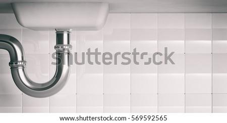 Water Pipes Under Kitchen Sink. 3D Illustration