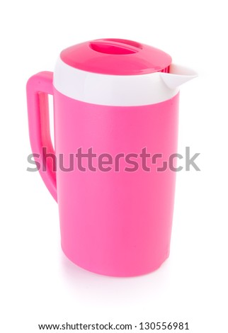 water pitcher. plastic pitcher on the background - stock photo