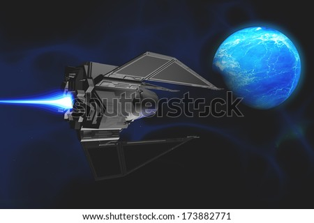 Water Planet - A small spacecraft from Earth reaches a water planet after many lightyears. - stock photo