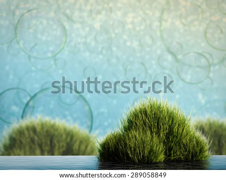 water plant on fairy tale landscape - stock photo