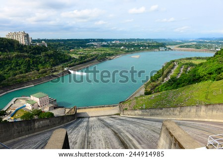 Water plant power dam energy in Taiwan - stock photo