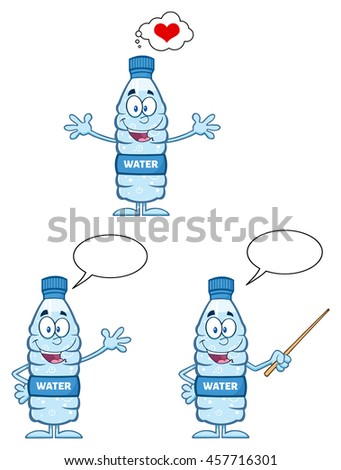 Water Plastic Bottle Cartoon Mascot Character 2. Set Raster Collection Isolated On White Background - stock photo