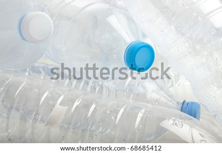 water plastic bottle stack to recycle extreme closeup