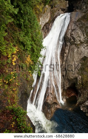 Water plunging from the lower tier of Twin falls at North Bend, Washington