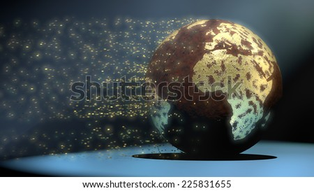 Water pollution and global warming are wearing away a golden world - stock photo