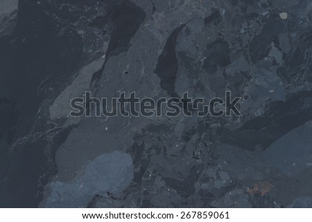 Water pollution, oil surface on river - stock photo