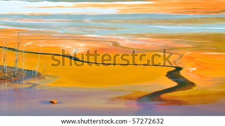 Water pollution with petrochemical products - stock photo