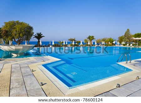 Water pool and stairs - vacation background