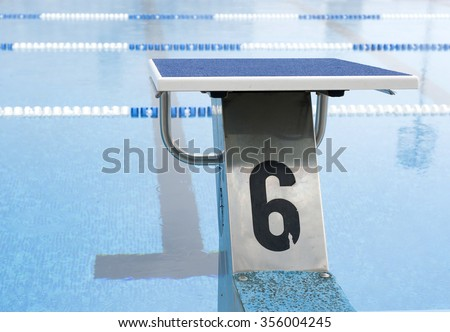 water pool plunge with number 6 - stock photo