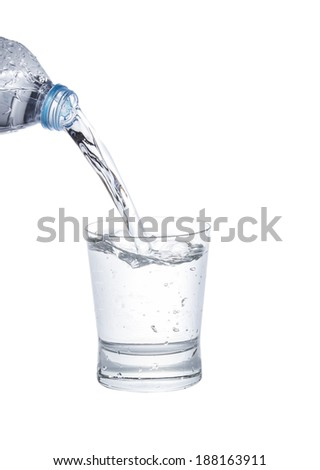 water pouring from a bottle into glass on white background