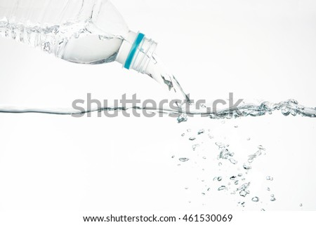 Water pouring from water bottle on white background