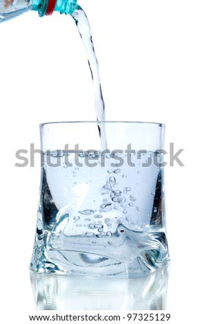 water pouring into glass on white background - stock photo