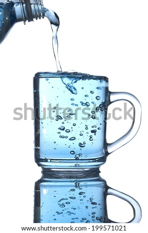 water pouring on a white background - stock photo