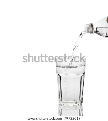 Water pouring out from a mineral water bottle into a glass with reflection, isolated against white.