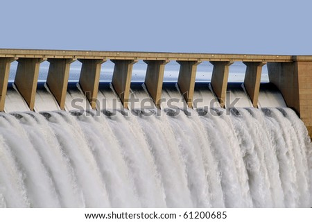 Water pouring through the sleus gates at Gariep dam in the Eastern Cape, South Africa - stock photo