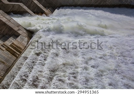 Water power  on Spillway on hydroelectric dam  - stock photo