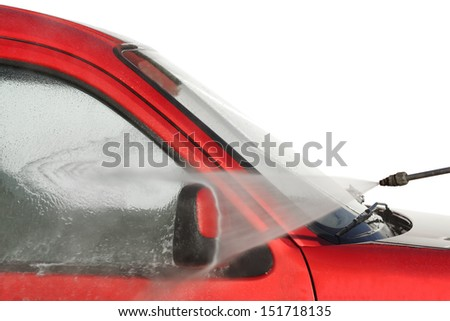 Water pressure cleaner blaster car washing - stock photo