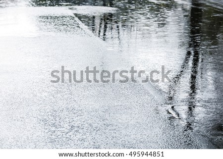 water puddles with rain drops falling on them on wet asphalt
