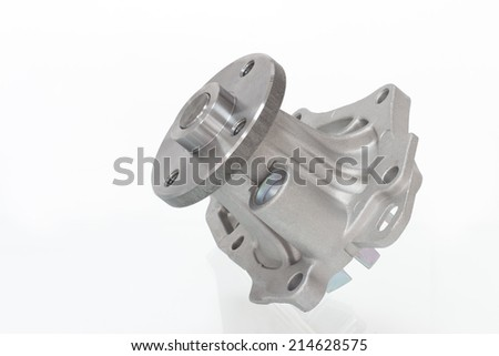 water pump engine cooling fan isolated on a gray background reflecting - stock photo
