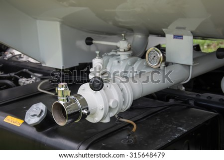 Water pump fragment with hydrant. Firefighters Equipment of fire truck - stock photo