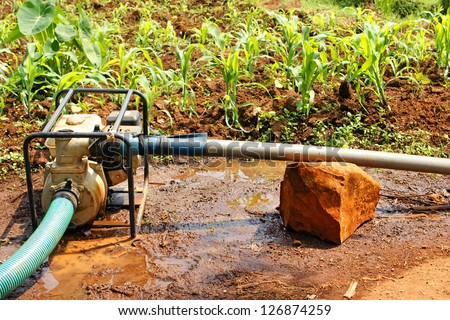 Water pump in a tropical culture or field of various food produces in Africa during the dry season. - stock photo