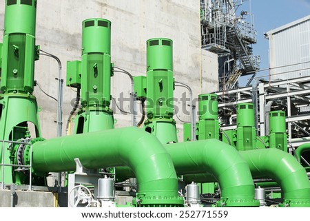 Water pump station for cooling tower in power plant.