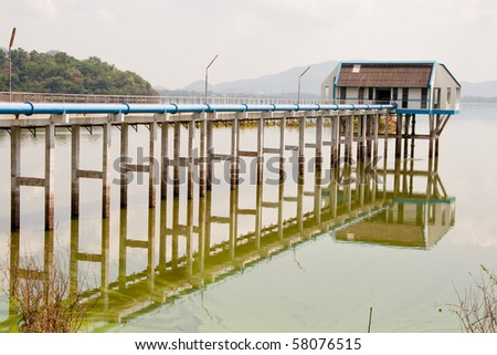 water pump station in bangphra pond, Chonburi East of Thailand - stock photo