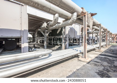 Water pumping and pipes for industria. - stock photo
