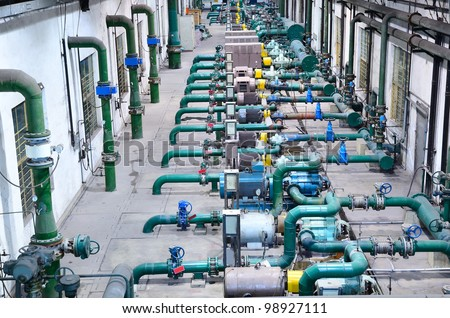Water pumping station - stock photo