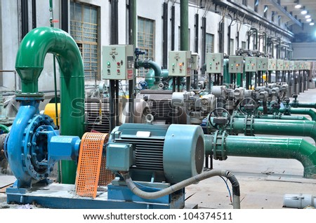 water pumping station - water treatment plant within the pumps and pipelines - stock photo